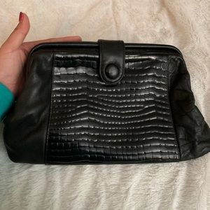 Vintage Jennifer Moore Black Leather Clutch